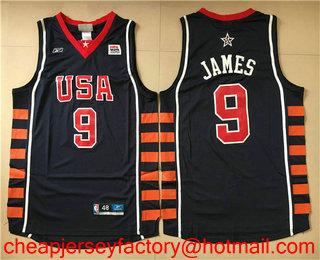 ... Shop usa and 2004 Olympics Team USA Mens 9 LeBron James Navy Blue  Stitched Basketball Reebok Swingman Jersey allen iverson ... 31ca32a30