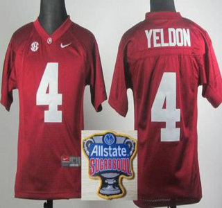 alabama crimson tide 4 t.j yeldon 2014 all state sugar bowl game patch red kids jersey
