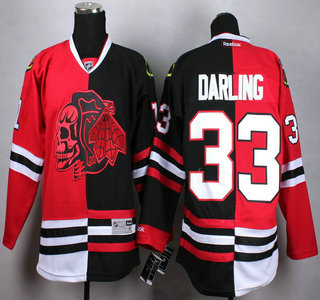 Chicago Blackhawks #33 Scott Darling Red With Black Two Tone With Red  Skulls Jersey