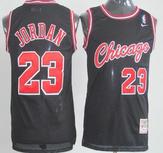 qqkzxt Men\'s Chicago Bulls #23 Michael Jordan All Black Soul Swingman Jersey