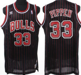 1b22f6bde18 ... Chicago Bulls 33 Scottie Pippen Black Pinstripe Hardwood Classics Soul  Swingman Throwback Jersey ...