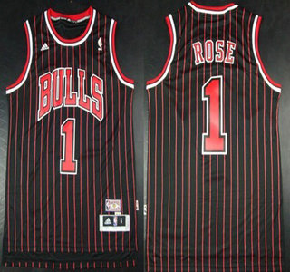 cheaper 85ab7 3583b chicago bulls 1 derrick rose black pinstripe swingman jersey