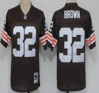 Cleveland Browns #32 Jim Brown Brown Short-Sleeved Throwback Jersey