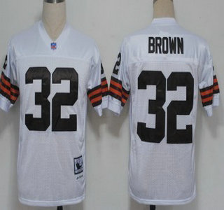 Cleveland Browns #32 Jim Brown Brown Long-Sleeved Throwback Jersey