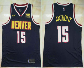 e60805785 Denver Nuggets  15 Carmelo Anthony New Navy Blue 2019 Nike Swingman Western  Union Printed NBA