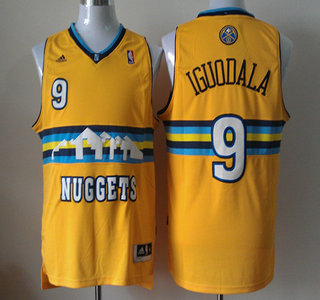 67db3a4ccb9f Denver Nuggets 9 Andre Iguodala Revolution 30 Swingman Yellow Jersey Mens  Denver Nuggets 55 Dikembe Mutombo Black Hardwood Classics ...