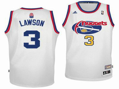 Denver Nuggets 3 Ty Lawson ABA Hardwood Classics White Swingman Jersey ... 2bbb55496