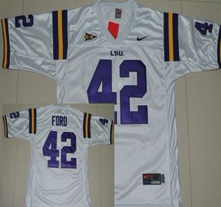 359933700 ... NCAA LSU Tigers 11 Twill Football Jersey White LSU Tigers 42 Michael  Ford White Jersey NIKE ...
