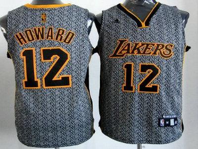 nba jerseys los angeles lakers 12 dwight howard grey static fashion ... d7f1862b8