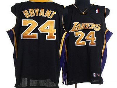 Los Angeles Lakers 24 Kobe Bryant Black With Black Throwback Champion Jersey