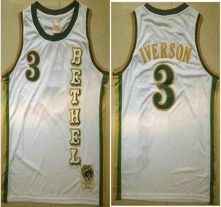 c8c03626c3e ... mens bethel high school 3 allen iverson white soul swingman basketball  jersey
