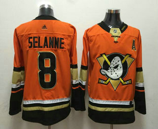 huge discount 919a7 4a1d5 Men's Anaheim Ducks #8 Teemu Selanne Orange With A Patch ...