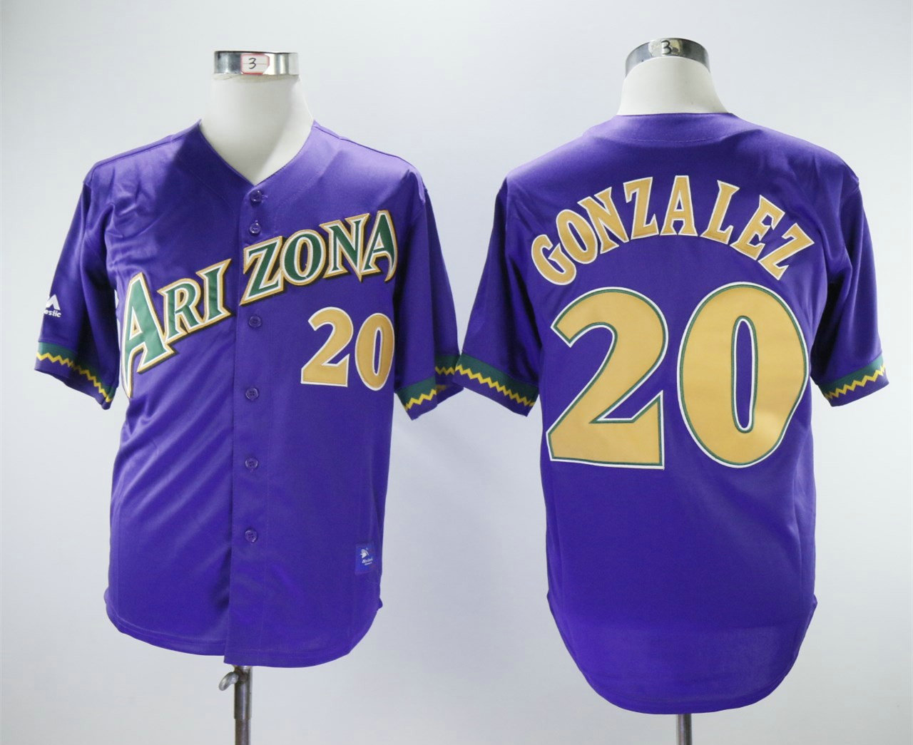 Men s Arizona Diamondbacks  20 Luis Gonzalez White Purple Majestic Cooperstown  Collection Throwback Jersey b777f3b68