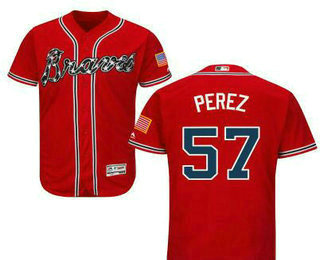 a7ac378083b Men s Atlanta Braves  57 Williams Perez Red Stitched Baseball Jersey