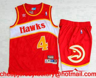 364bb9a1f ... Mens Atlanta Hawks 4 Spud Webb Red Hardwood Classics Soul Swingman  Throwback Jersey With Shorts ...