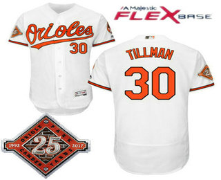 bff3bbd50 Men s Baltimore Orioles  30 Chris Tillman White Home 25TH Patch Stitched  MLB Flex Base Jersey