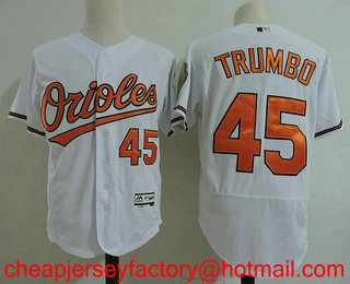9969229ae9a Men s Baltimore Orioles  45 Mark Trumbo White Home Stitched MLB Flex Base  Jersey