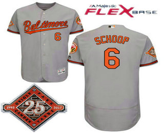 70628d37c Men s Baltimore Orioles  6 Jonathan Schoop Gray Road 25TH Patch Stitched  MLB Flex Base Jersey