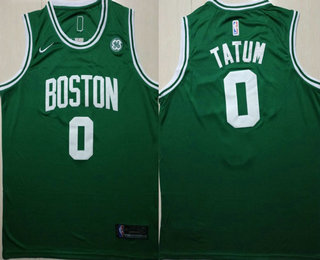 bc75c0dd502 Men s Boston Celtics  0 Jayson Tatum Green 2017-2018 Nike Swingman General  Electric Stitched