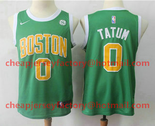7bf4d8d9214 Men s Boston Celtics  0 Jayson Tatum Green Nike Swingman 2018 playoffs  Earned Edition Stitched Jersey