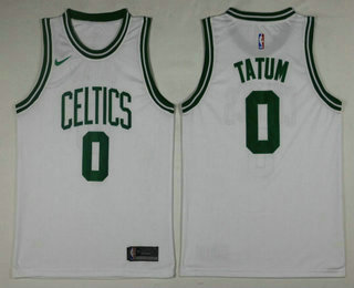 half off f3bf9 dc3fb Men's Boston Celtics #0 Jayson Tatum White 2017-2018 Nike ...