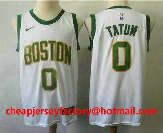 ad1548f3086 Men s Boston Celtics  0 Jayson Tatum White With Gold 2019 NBA Swingman City  Edition Jersey