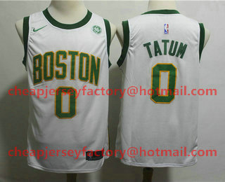 76788824e62 Men s Boston Celtics  0 Jayson Tatum White With Gold 2019 Nike NBA Swingman GE  Patch