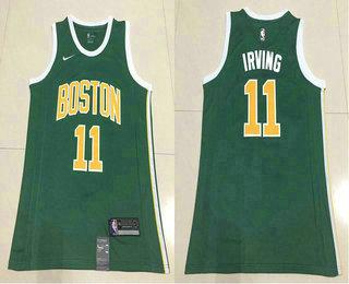 73e5ec9d9c84a Men's Boston Celtics #11 Kyrie Irving Green Nike Swingman 2018 playoffs Earned  Edition Stitched Jersey