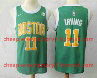 f565567603a Men s Boston Celtics  11 Kyrie Irving Green Nike Swingman 2018 playoffs  Earned Edition Stitched Jersey