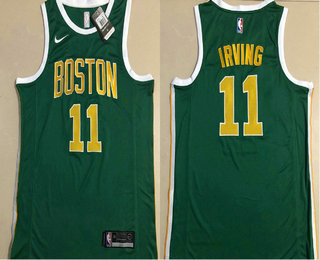 a96fefa4d Men s Boston Celtics  11 Kyrie Irving Green With Gold Name Nike AU 2018  playoffs Earned