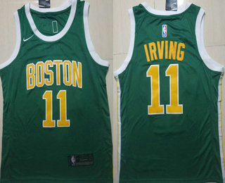 4cd96a89f4f71 Men's Boston Celtics #11 Kyrie Irving Green With Gold Name Nike Swingman  2018 playoffs Earned Edition Stitched Jersey