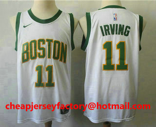 e3529a4d9f6 Men s Boston Celtics  11 Kyrie Irving White With Gold 2019 NBA Swingman  City Edition Jersey