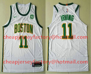 8c9ff747300 Men s Boston Celtics  11 Kyrie Irving White With Gold 2019 Nike NBA  Authentic GE Patch City Edition Jersey