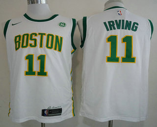 3f34fafb638 Men s Boston Celtics  11 Kyrie Irving White With Gold 2019 Nike NBA  Swingman GE Patch City Edition Jersey