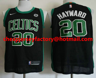 e82ea0d3936 Men s Boston Celtics  20 Gordon Hayward Black 2017-2018 Nike Authentic  General Electric Stitched
