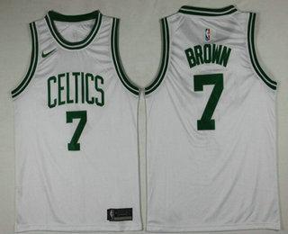 sports shoes 5ed48 9a4a0 Men's Boston Celtics #7 Jaylen Brown White 2017-2018 Nike ...