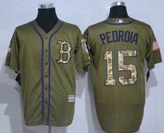 a3a62a760 Men s Boston Red Sox  15 Dustin Pedroia Green Salute to Service Cool Base  Baseball Jersey