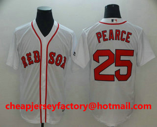 8bc21cbc5bb Men s Boston Red Sox  25 Steve Pearce White Home Stitched MLB Majestic Cool  Base Jersey