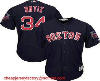 reputable site 82c26 52435 Men's Boston Red Sox #34 David Ortiz Navy Blue Stitched MLB ...