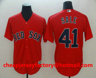 e73ad5355 Men s Boston Red Sox  41 Chris Sale Retired Red Stitched MLB Cool Base  Jersey