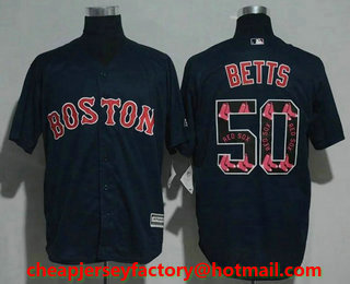 74b20e3d053 Men s Boston Red Sox  50 Mookie Betts Navy Blue Team Logo Ornamented  Stitched MLB Cool Base Jersey