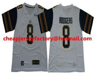 best service a84bc d06d8 Men's California Golden Bears #8 Aaron Rodgers Navy Blue ...
