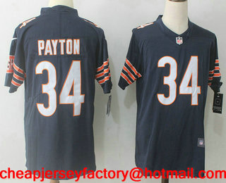 Men s Chicago Bears  34 Walter Payton Navy Blue 2017 Vapor Untouchable  Stitched NFL Nike Limited bf6116660