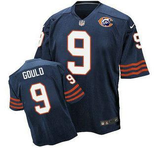 894ca281111 Men's Chicago Bears #9 Robbie Gould Navy Blue Throwback Alternate Nike  Elite Jersey