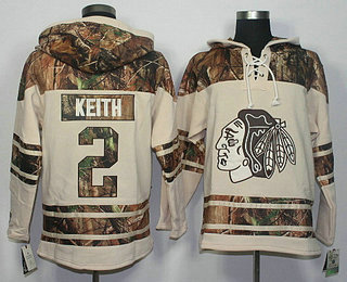 Men s Chicago Blackhawks  2 Duncan Keith Old Time Hockey Cream With Camo  Hoodie 96db14fb7