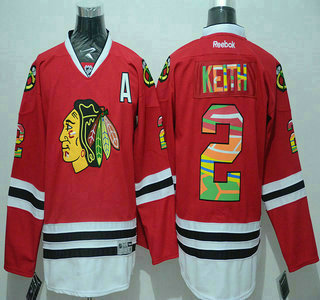 official photos 27b77 fd315 Men's Chicago Blackhawks #2 Duncan Keith Reebok Red Colored ...