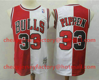 80df4789ef8 Men s Chicago Bulls  33 Scottie Pippen Red With White Two Tone Hardwood  Classics Soul Swingman