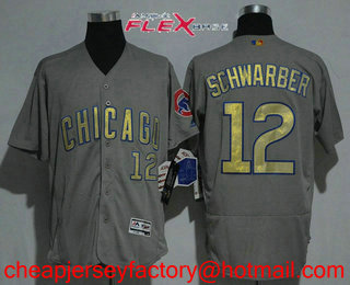 a139689b3 Men s Chicago Cubs  12 Kyle Schwarber Gray World Series Champions Gold  Stitched MLB 2017 Flex