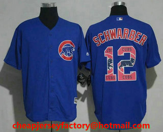 mens chicago cubs 12 kyle schwarber royal blue team logo ornamented stitched mlb cool base jersey