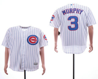 cb0d5fd1f Men s Chicago Cubs  3 Daniel Murphy White Home Stitched MLB Cool Base Jersey